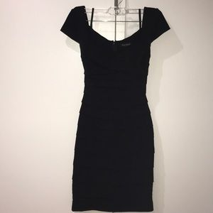 Form fitting black layered dress